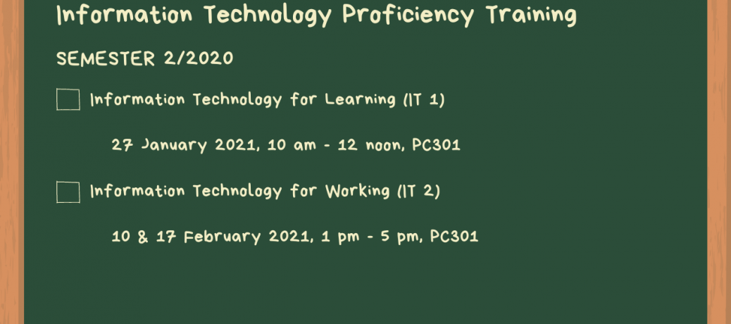 IT Proficiency Training, Semester 2/2020